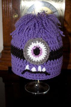 Crochet toddler purple Despicable Me evil minion hat months Más Crochet Toddler, Crochet Kids Hats, Crochet Bebe, Crochet Animals, Crochet Crafts, Knit Crochet, Minion Hats, Minion Beanie, Knitting Projects