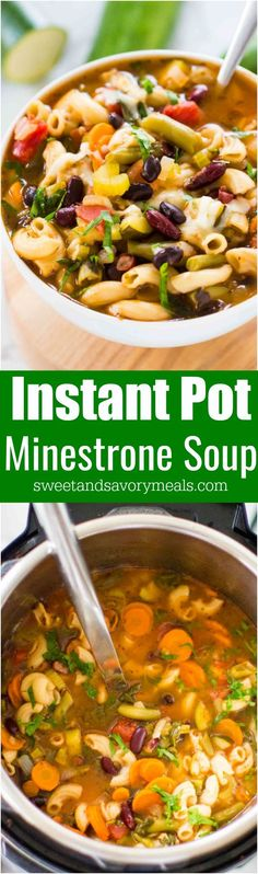 Easy Instant Pot Minestrone Soup is delightfully good, tasty and healthy! Easy to male and packed with so many hearty veggies and beans you can have a few bowls guilt free. #soup #minestrone #InstantPot