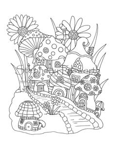 Fairy Mushroom Village Printable Coloring Page - Color with Steph House Colouring Pages, Fairy Coloring Pages, Disney Coloring Pages, Mandala Coloring Pages, Coloring Pages To Print, Free Printable Coloring Pages, Adult Coloring Pages, Coloring Books, Doodle Coloring