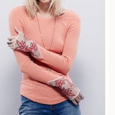 Free  People Thermal Salmon color free people thermal with scoop back detail and embroidery on the sleeves . Hook and eye detailing along the cuff nwt Free People Sweaters