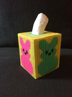 Easter Handmade Plastic Canvas Tissue Box Cover Holiday Tissue Topper Fits standard boutique size box of tissues-not included Smoke free home Combined shipping available