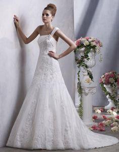 Unique One Shoulder Wedding Gown with Lace Applique Court Train