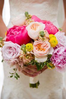 Trending… brides with colorful, vibrant flowers and bridesmaids with neutral bouquets.  There are so many gorgeous flowers to work into these collections.  The pop of color against the white dresses is always stunning, so for a bride who wants something a little different , lets talk color!