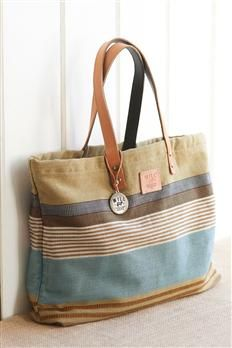 Reversible Striped Canvas Tote From Will Leather Goods | Territory Ahead