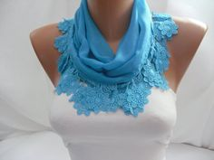 fWomen  Blue Cotton Scarf  Headband  Cowl with daisy Lace by DIDUCI, $15.00