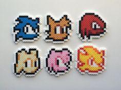 Sonic Perler Bead Sprite Set - Sonic Character Heads