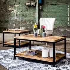 Rechthoekige salontafel van 60x90cm zwart stalen frame en mango houten boven - en onderblad