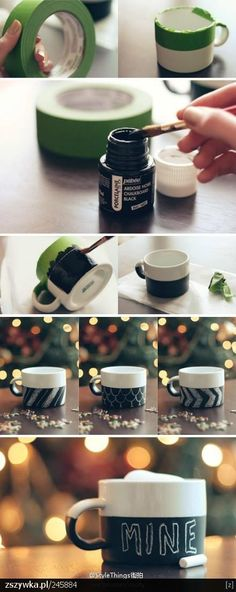 Have you seen those cute chalkboard mugs at Starbucks? Make your own DIY painted version using Dollar Store mugs, Porcelaine chalkboard paint and painter's tape. Diy Tableau Noir, Diy Becher, Diy Chalkboard Paint, Chalk Paint, Chalkboard Drawings, Chalkboard Lettering, Homemade Chalkboard, Chalkboard Ideas, Fun Crafts