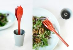 """""""Blossom Cutlery"""", designed by Reflect, http://www.the-reflect.com/, is made up of a knife, spoon, fork and cup for eco-friendly materials use. A cutlery set in unit into one, shaped into a pot flower."""