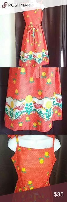 Fun, bright and fantastic vintage sundress Malia Such a wonderfully bright and chipper vintage sundress by Malia.  Made in Hawaii.  Tie spaghetti straps.  Back zipper.  Built in bra.  Tie belt.  Bust 40 inches. Waist 30 inches. Hips 44. Length 39 inches not including straps bwcauae they arr adjustable. Malia Dresses