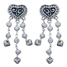 Western Bride Collection Heart with Dangling Pearls Earrings