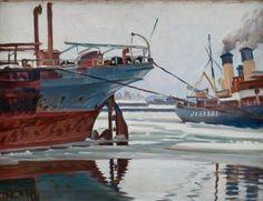 """The Icebreaker """"Jääkarhu """" in Hietalahti, Helsinki - Ali Munsterhjelm Finnish, 1873–1944 Oil on canvas."""