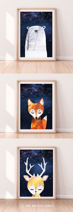 PRINTABLE ART POSTER Fox Bear Deer Wall Print Nursery Decor Graphic Design Boys Girls Kids Room Interior Digital Download Peekaboo Animal Stars Night Amazing Cute Sweet Cool Downloadable Kids Boys Girls Room Colorfull