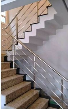 Front Gate Design, Door Design, Stainless Steel Stair Railing, Steel Railing Design, Classic House Exterior, Glass Stairs, Home Stairs Design, Steel Stairs, Front Gates