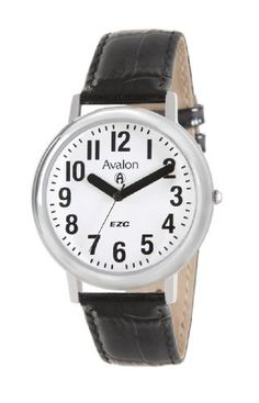 Avalon EZC XL Unisex Silver-Tone Low Vision Leather Strap Watch # 0447SX Avalon. $24.95. Includes limited lifetime warranty and gift box. Easy to Read Dial. Precision Japanese quartz movement. Thick hands for better visibility. Extra large case