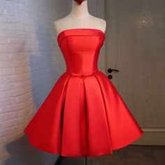 2016 New A Line Satin Prom Dress Bridesmaid Dress Red Short Cocktail Dress Strapless Party Dresses Lace-Up Back Graduation Gown Homecoming Dresses Knee Length, Short Red Prom Dresses, Strapless Homecoming Dresses, Short Bridesmaid Dresses, Knee Length Dresses, Ball Dresses, Ball Gowns, Short Prom, Dresses 2016