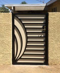 Modern Gate Gallery All - Artistic Iron Works - Ornamental Wrought Iron Specialists Steel Gate Design, House Gate Design, Door Gate Design, Railing Design, Fence Design, Window Grill Design Modern, Grill Door Design, Gate Designs Modern, Modern Gates