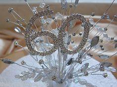 60th Diamond Wedding Anniversary Birthday Diamante Crystal Cake Topper in Home, Furniture & DIY,Wedding Supplies,Flowers, Petals & Garlands | eBay