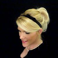 Glitter black small bow stretch headband feminine/romantic/classic