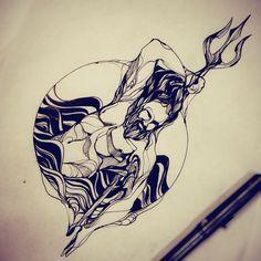 Tritão. Arte pronta pra tatuar #tritao #merman #poseidon #blackwork #blackart #art #philltattoo
