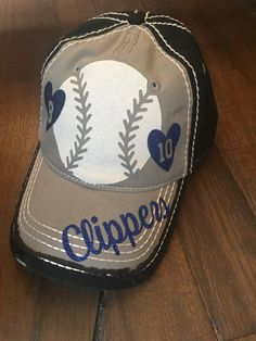 Baseball Mom Hat Baseball Bling Hat Custom Sports by TheSwagShoppe