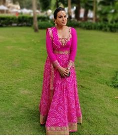 Beautiful bandhani Chiffon-silk Long Dress with hand embroidery embellishment. Party Wear Indian Dresses, Indian Bridal Wear, Pakistani Dresses, Ethnic Outfits, Indian Outfits, Long Frocks For Girls, Dress Design Patterns, Bandhani Dress, Mehendi Outfits