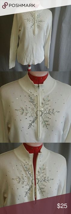 """Boston Proper  Longsleeves Tops White XL Beaded Item is in a good condition, NO PETS AND SMOKE FREE HOME. Measurements armpit to armpit 20"""" flat, stretchable fabric. Boston Proper Tops"""
