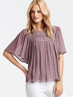 Lace-trim Babydoll Top