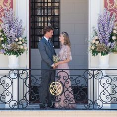 casiraghitrio: Civil Wedding of Pierre Casiraghi and Beatrice Borromeo, Monaco, July 25, 2015-the bride and groom in their civil wedding clothes; Beatrice's dress is by Valentino