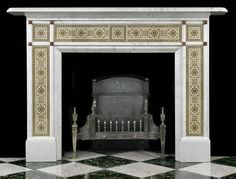 Antique Victorian Marble Fireplace with Tiles