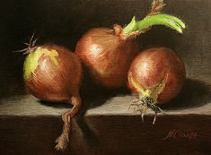 Still life with three onions (go green) by Natalia Ivan Clarke Oil ~ 6 x 8 Fruit Painting, Oil Painting Flowers, Painting Abstract, Go Green, Green Life, Vegetable Painting, Still Life Fruit, Still Life Oil Painting, Still Life Photos