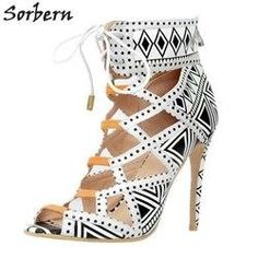 c31bc9ccf Sorbern Women Pumps Lace Up High Heels Shoes Women Plus Size Ladies Party  Shoes Peep Toe Hollow Side New Arrive 2017 S. Sandalias De MujeresVestidosTacones  ...