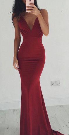 Custom Charming Dark Red Prom Dress,Sexy Spaghetti Straps Evening Dress,Deep V-Neck Prom Dress