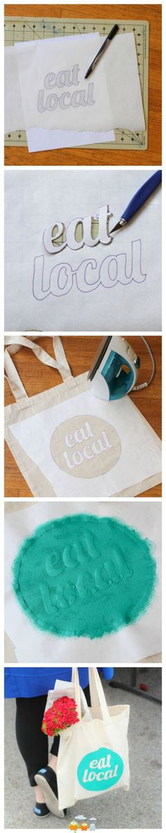 DIY Graphic Farmer's Market Tote (using freezer paper) Diy Projects To Try, Crafts To Make, Fun Crafts, Craft Projects, Paper Crafts, Decor Crafts, Sewing Projects, Freezer Paper Stenciling, Do It Yourself Inspiration