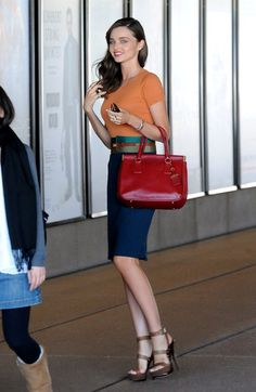 Miranda Kerr 2011 August Navy Skirt Orange Blouse Deep Red bag