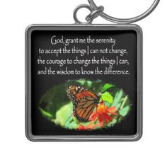 BEAUTIFUL BUTTERFLY PHOTO SERENITY PRAYER DESIGN Silver-Colored SQUARE KEYCHAIN Be inspired with the Serenity Prayer. http://www.zazzle.com/myheavenlyblessings/gifts?cg=196715163697786629&rf=238246180177746410 #Serenityprayer #LetGoandLetGod #TrustGod #Godisincharge #Recovery #12steps