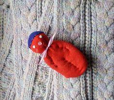 Lavender Filled Sachet Handmade Sock Doll OOAK Red with White Heart Eyes #Pedricks