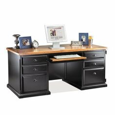 Southampton Executive Computer Desk by Kathy Ireland - Black by Martin Furniture. $1339.99. The Southampton Executive Computer Desk by Kathy Ireland - Black gives your office the casual look of coastal living with updated features that make it indispensable. The base of this hardwood-and-veneer-crafted desk has a black-painted finish. The wide keyboard tray pulls out at the correct height for total ergonomic comfort. A concealed CPU tower space features a pullo...