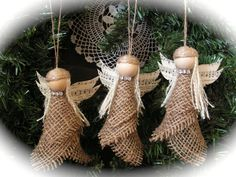Christmas Ornament burlap angel  set of 2  reserve by Mydaisy2000