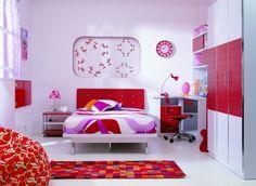ideen für kinderzimmer rot pink weiss maedchen jugendzimmer design