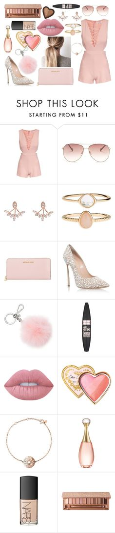 """""""Untitled #223"""" by sarahb-17 ❤ liked on Polyvore featuring Topshop, Jessica Simpson, Wild Hearts, Accessorize, Michael Kors, Casadei, Maybelline, Lime Crime, Too Faced Cosmetics and Links of London"""