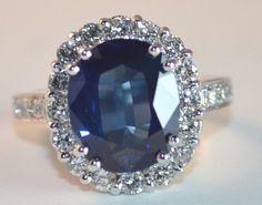 large sapphire & diamond ring, via Etsy (greenhilljewelers)