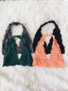 Lace Halter Bralettes (Black, Coral, Gray, Hunter Green)