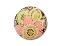 Golem Design Studio Stoneware Brown with Pink and Tan Flowers Round Cabochon