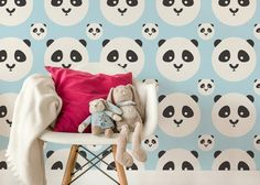 TAPETA PANDA KIDS COLOR BABY BLUE ONWALL - Polski design, tapety, obrazy, murale