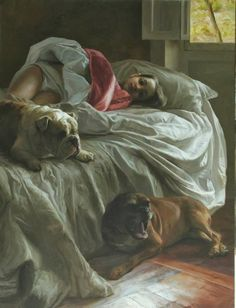 """crossconnectmag: """"Realistic Paintings by Guillermo Lorca Guillermo Lorca Garcia Huidobro born in Santiago in is a Chilean artist best known for his monumental works inspired by dreamlike. Cool Paintings, Beautiful Paintings, Bedroom Paintings, Critique D'art, Digital Art Girl, Art Sites, Spanish Artists, Dog Art, Figure Painting"""