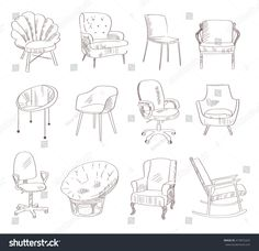 Set Chairs Vector Illustration Hand Drawn Stock Vector (Royalty Free) 415872424 Set with chairs. Drawing Furniture, Chair Drawing, Furniture Layout, Hand Illustration, Room Sketch, Planer Layout, Interior Design Sketches, Prop Design, Chair Design
