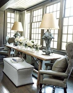 casual restoration hardware feel living room window seat area