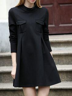 Black Crew Neck Pockets Plus Dress 14.08