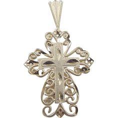 Vintage 14k Gold Filigree Cross Charm / Pendant